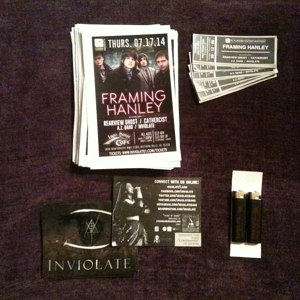 All ready for Kadria's promotional trip to Birmingham AL on Friday. Wait, why are there #lighters in the bottom right corner? Buy your 7/17 @FramingHanley ticket from her that day and get a free lighter! #ironhorsecafe #birmingham #alabama #fire #framinghanley #azband #cathercist #rearviewghost #flyunderentertainment #promoting #rockshows