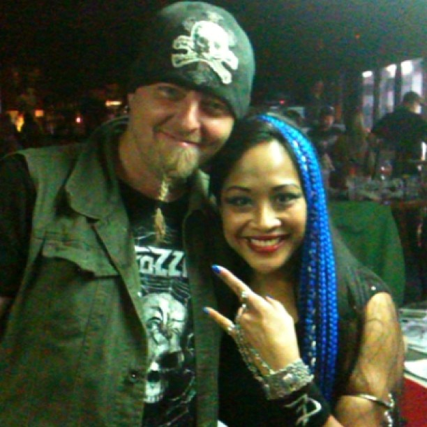 Mr. Buck Gillespie and #kadria after she braided his luxuriant #beard #fozzy #alabama #birmingham #ironhorsecafe