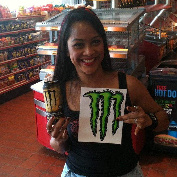 @monsterenergy marketing rep saw Kadria finishing up a Monster Green Tea at the Windy Hill #quiktrip and gave her a sticker for the Thunderhorse (or sword case!) #monsterenergy #monsterrehab #energydrinklove #marietta #atlanta #qt #hornsup #monsterrocks