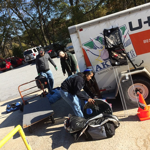 Loading out on a slope. Or it's just clever camera angles. #loadout #thunderbox #workinghard #floridabound #tourlife