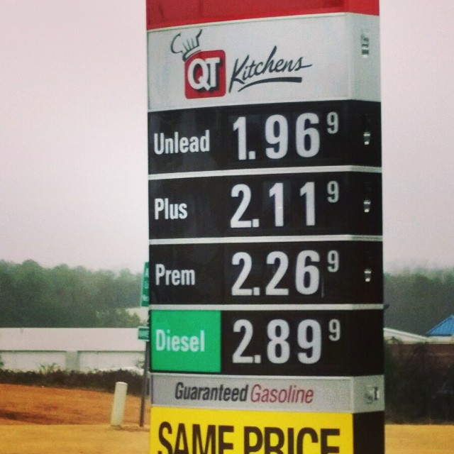 Isn't this an awesome Christmas present -- gas below $2/gal!! Taken by Chris on his way to see family in SC. Y'all be safe, warm & dry if traveling for the holidays! #qt #anderson #sc #cheapgas #holidaygift #traveling