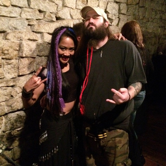 #DoubleBarrelDemocracy 's #vocalist Kurtis Ray sporting one of our red #braids in his magnificent #beard during the Machine Head show in #Atlanta last Sunday. Come get your braid extensions at our merch table!! #extensions #braidsaremetal #windmillmaterial #opelika #goodtimes