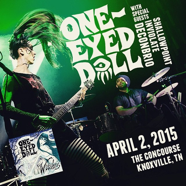 Party at The Concourse in #Knoxville #Tennessee tonight! Our 3rd date with @oneeyeddoll and reuniting with @deconbrio & sharing the stage with @shallowpoint! See you there! #rock #visualart #industrial #thursdayshow @intlknox #awesome #femalerockers